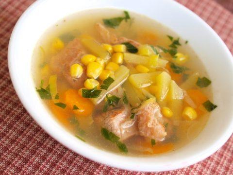 Мясной суп с кукурузой