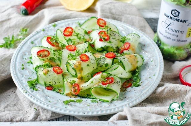 Огуречный салат со жгучим перцем