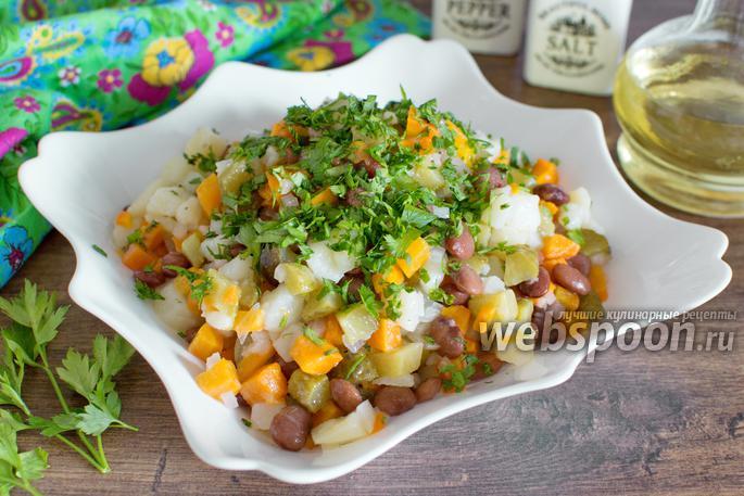 Салат из фасоли с маринованной сельдью