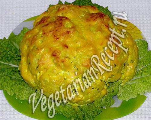 Картофель, фаршированный цветной капустой и сыром