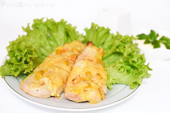 Картофель, фаршированный куриным мясом и кукурузой