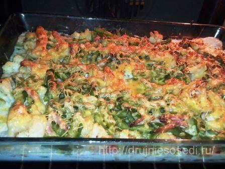 Курица, фаршированная цветной капустой и фасолью