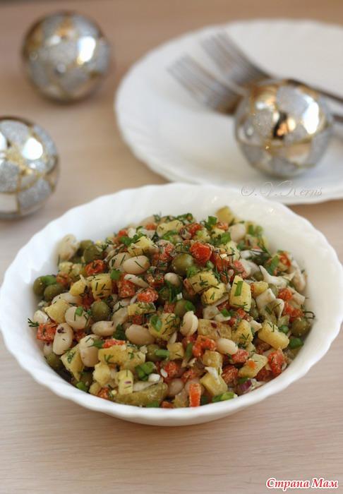 Оливье с карри и фасолью
