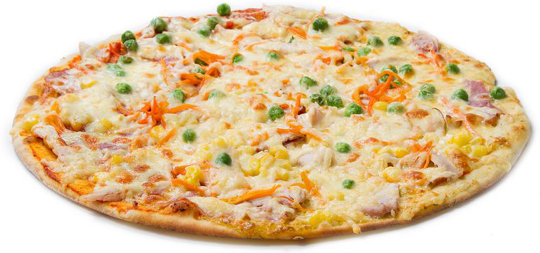 Пицца с зеленым горошком и грибами