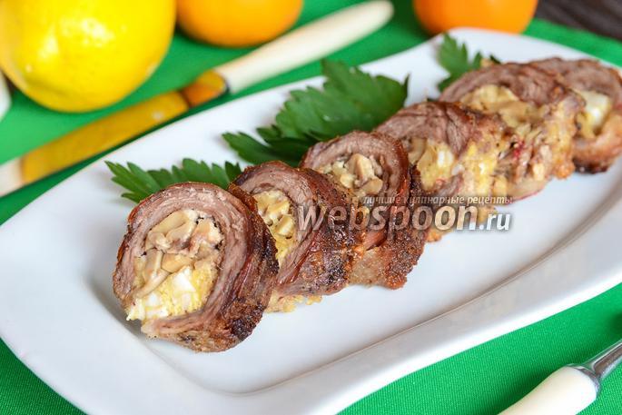 Рулеты из телятины с печенью и зеленью