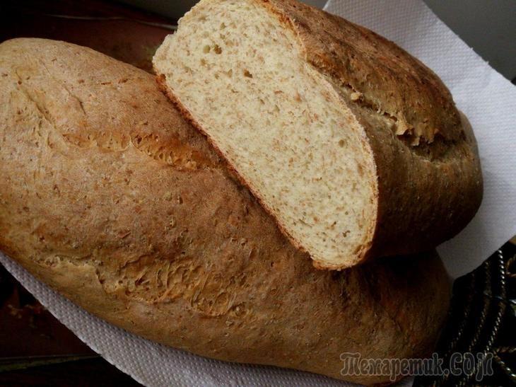 Хлеб пшеничный с отрубями, луком и чесноком