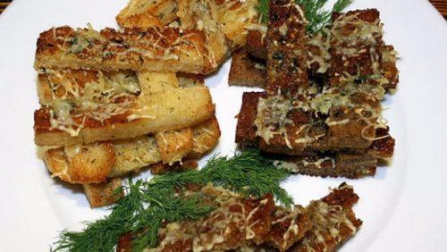 Хлебцы с чесноком и зеленью укропа